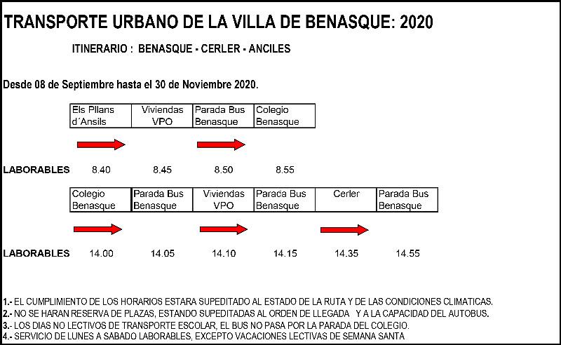 Transporte urbano benasque septiembre a noviembre 2020