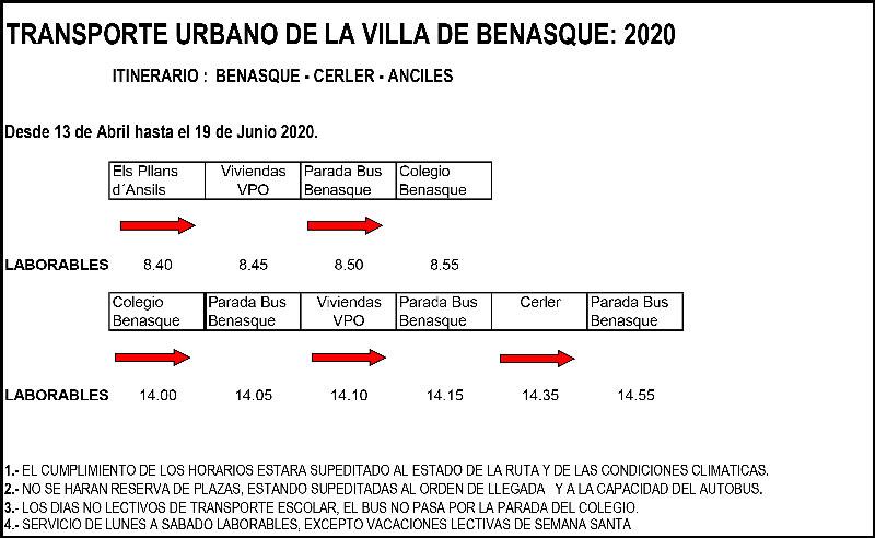 Transporte urbano benasque abril a junio 2020