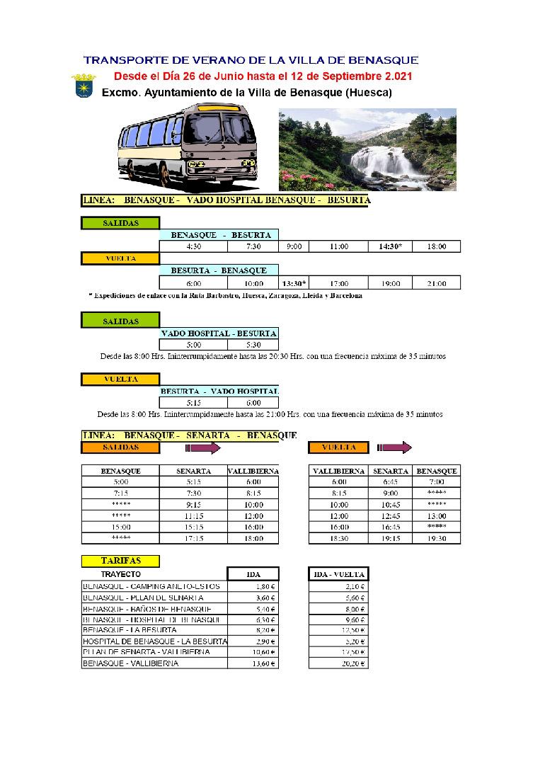 Transportes urbanos Benasque Verano 2020